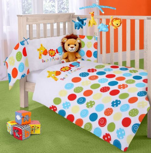 BABY COT NURSERY BEDDING 100% COTTON  2PC BALE COT QUILT & BUMPER POLKA BRIGHT BEST FRIENDS